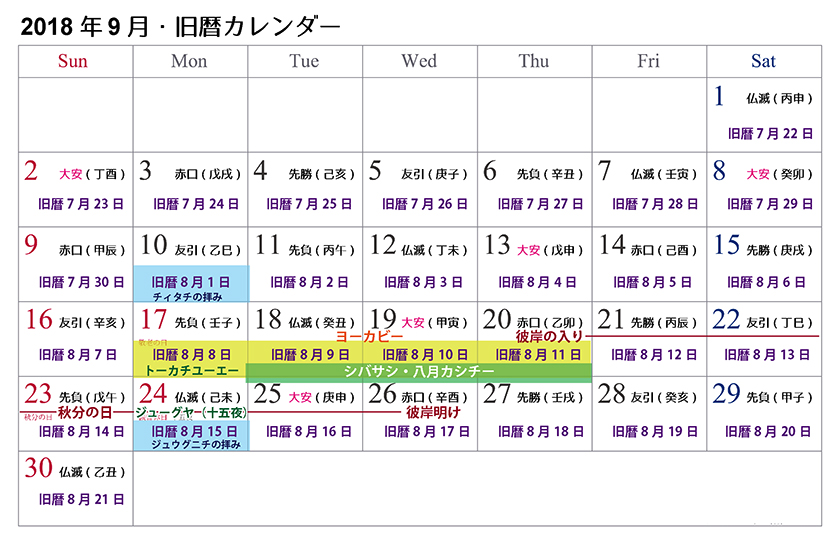 【沖縄の御願】悪疫払い!2018年9月の旧暦カレンダー